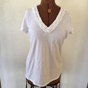 J. Crew Size M T shirt with ruffle detail v neck